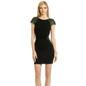 ERIN green and black metallic bodycon dress sz 2